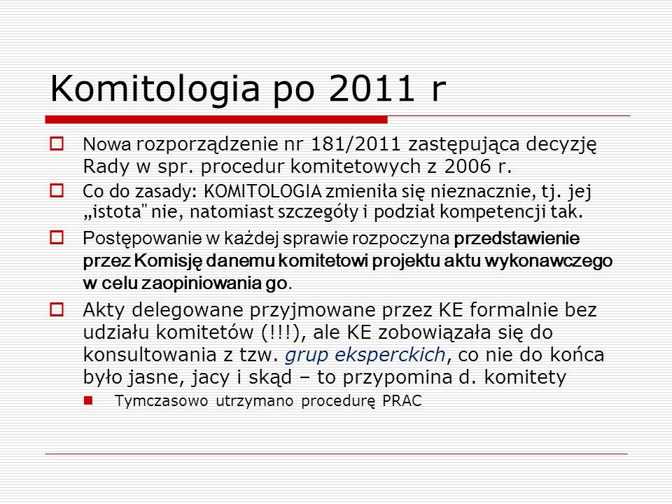Komitologia po 2011 r Nowa rozporządzenie nr 181/2011 zastępująca decyzję Rady w spr. procedur komitetowych z 2006 r. Co do zasady: KOMITOLOGIA zmieni