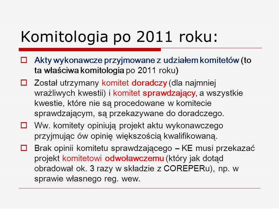Komitologia po 2011 roku: Akty wykonawcze przyjmowane z udziałem komitetów (to ta właściwa komitologia po 2011 roku) Został utrzymany komitet doradczy