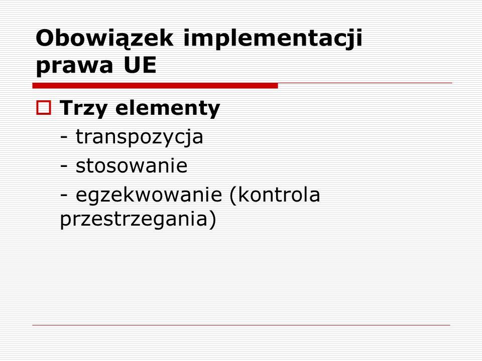 Obowiązek implementacji prawa UE Trzy elementy - transpozycja - stosowanie - egzekwowanie (kontrola przestrzegania)