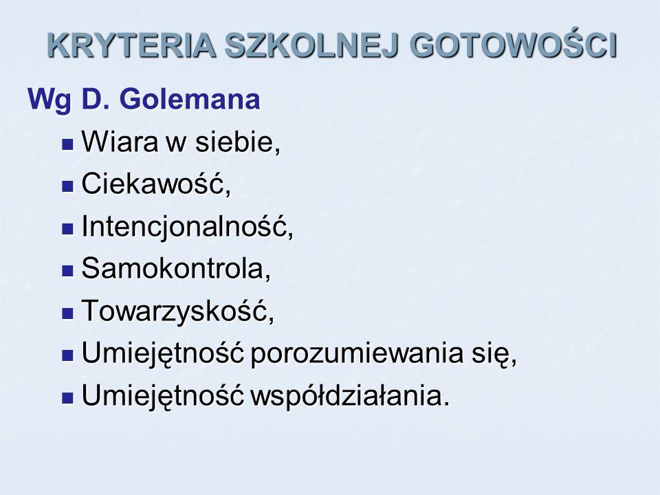 KRYTERIA SZKOLNEJ GOTOWOŚCI Wg D. Golemana Wiara w siebie, Wiara w siebie, Ciekawość, Ciekawość, Intencjonalność, Intencjonalność, Samokontrola, Samok