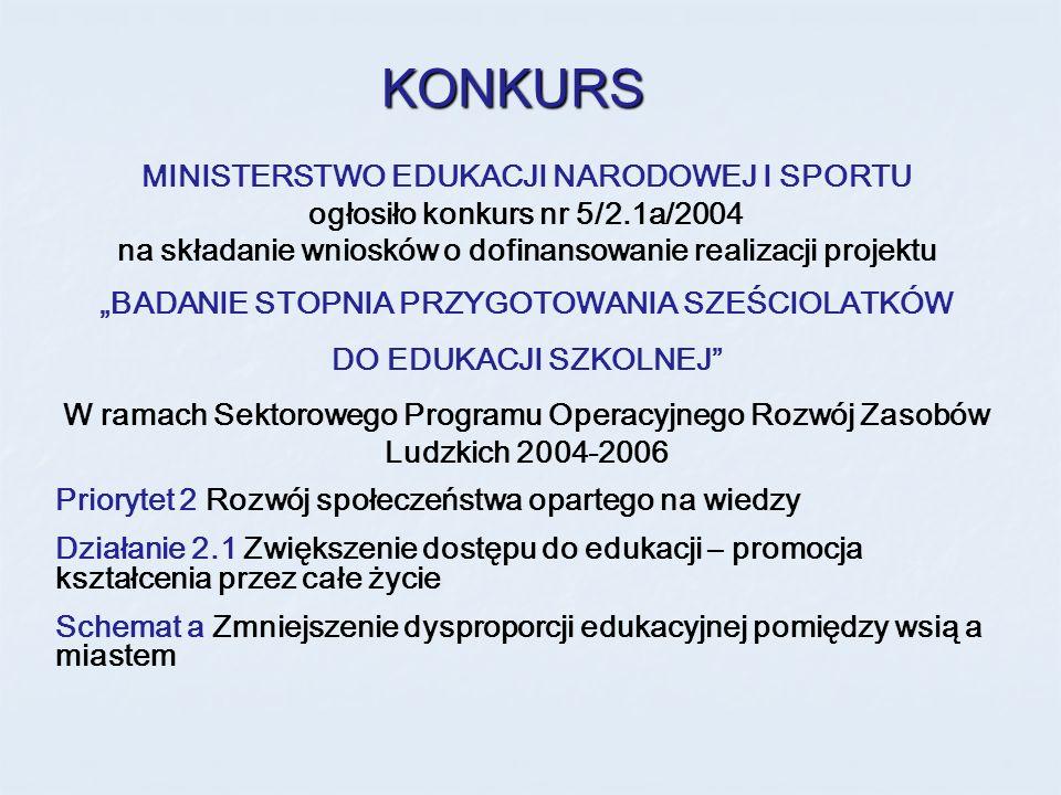 MINISTERSTWO EDUKACJI NARODOWEJ I SPORTU ogłosiło konkurs nr 5/2.1a/2004 na składanie wniosków o dofinansowanie realizacji projektu BADANIE STOPNIA PR