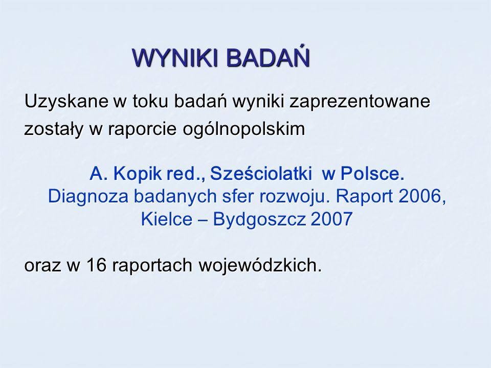 WYNIKI BADAŃ Uzyskane w toku badań wyniki zaprezentowane zostały w raporcie ogólnopolskim A. Kopik red., Sześciolatki w Polsce. Diagnoza badanych sfer