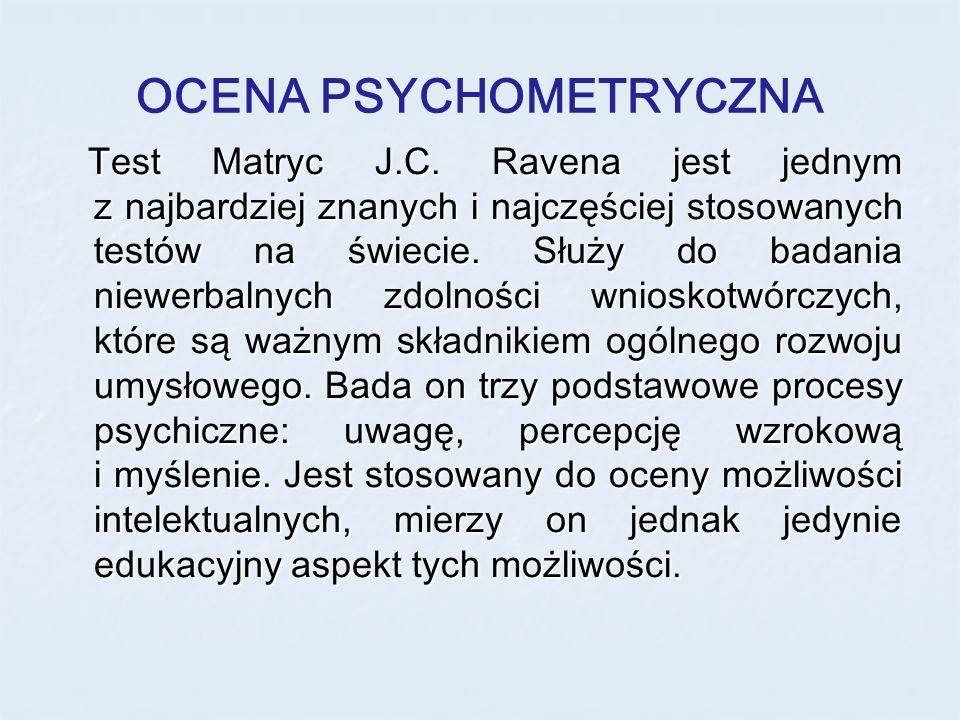 OCENA PSYCHOMETRYCZNA Test Matryc J.C. Ravena jest jednym z najbardziej znanych i najczęściej stosowanych testów na świecie. Służy do badania niewerba
