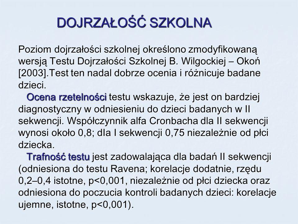 DOJRZAŁOŚĆ SZKOLNA Poziom dojrzałości szkolnej określono zmodyfikowaną wersją Testu Dojrzałości Szkolnej B. Wilgockiej – Okoń [2003].Test ten nadal do