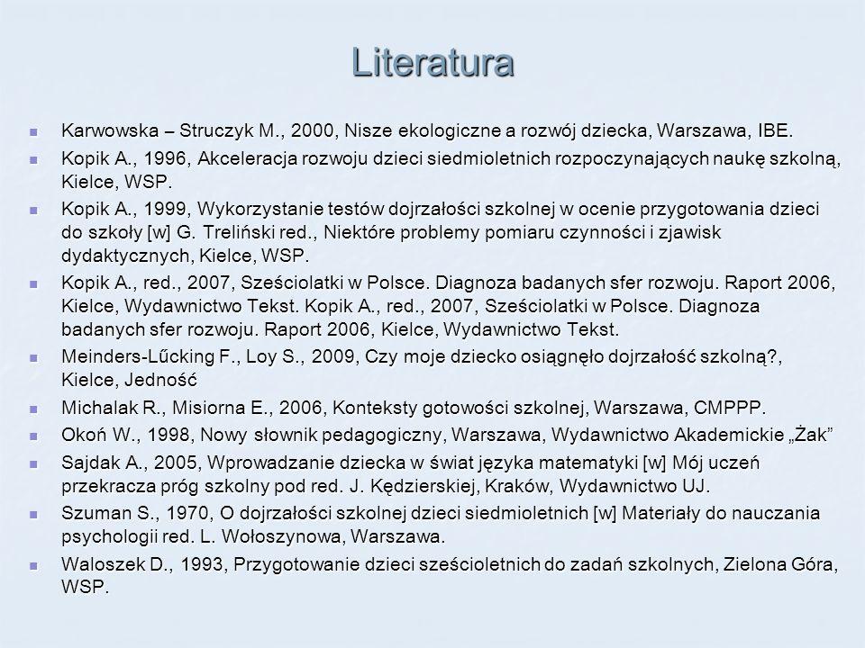 Literatura Karwowska – Struczyk M., 2000, Nisze ekologiczne a rozwój dziecka, Warszawa, IBE. Karwowska – Struczyk M., 2000, Nisze ekologiczne a rozwój