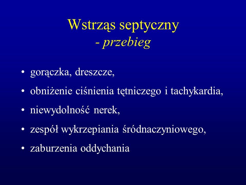 Wstrząs septyczny - przebieg gorączka, dreszcze, obniżenie ciśnienia tętniczego i tachykardia, niewydolność nerek, zespół wykrzepiania śródnaczynioweg