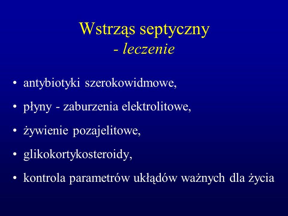 Wstrząs septyczny - leczenie antybiotyki szerokowidmowe, płyny - zaburzenia elektrolitowe, żywienie pozajelitowe, glikokortykosteroidy, kontrola param