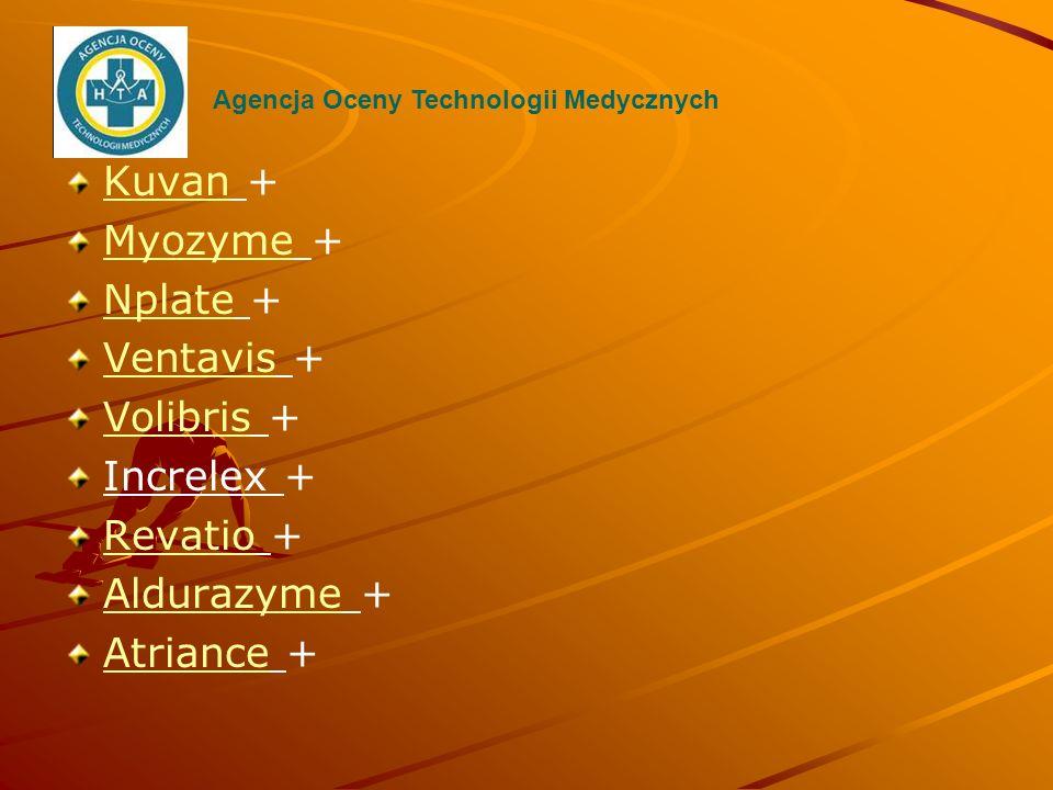 KuvanKuvan + MyozymeMyozyme + NplateNplate + VentavisVentavis + VolibrisVolibris + Increlex + RevatioRevatio + AldurazymeAldurazyme + AtrianceAtriance
