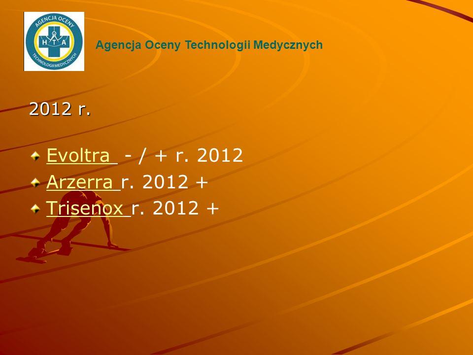 2012 r. EvoltraEvoltra - / + r. 2012 ArzerraArzerra r. 2012 + TrisenoxTrisenox r. 2012 + Agencja Oceny Technologii Medycznych