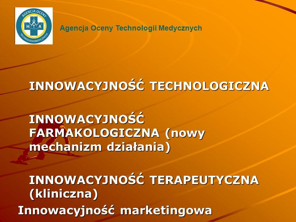 INNOWACYJNOŚĆ TECHNOLOGICZNA INNOWACYJNOŚĆ FARMAKOLOGICZNA (nowy mechanizm działania) INNOWACYJNOŚĆ TERAPEUTYCZNA (kliniczna) Innowacyjność marketingo
