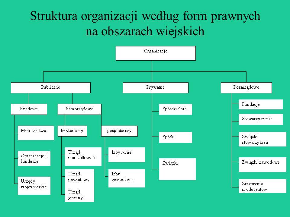 Struktura organizacji według form prawnych na obszarach wiejskich