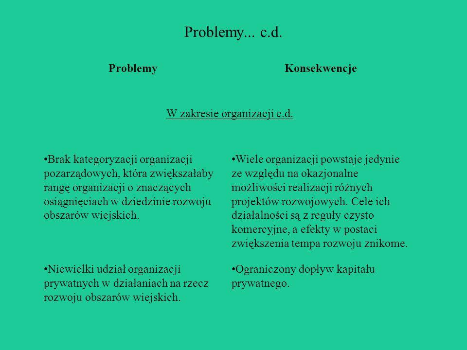 Problemy... c.d. ProblemyKonsekwencje W zakresie organizacji c.d.