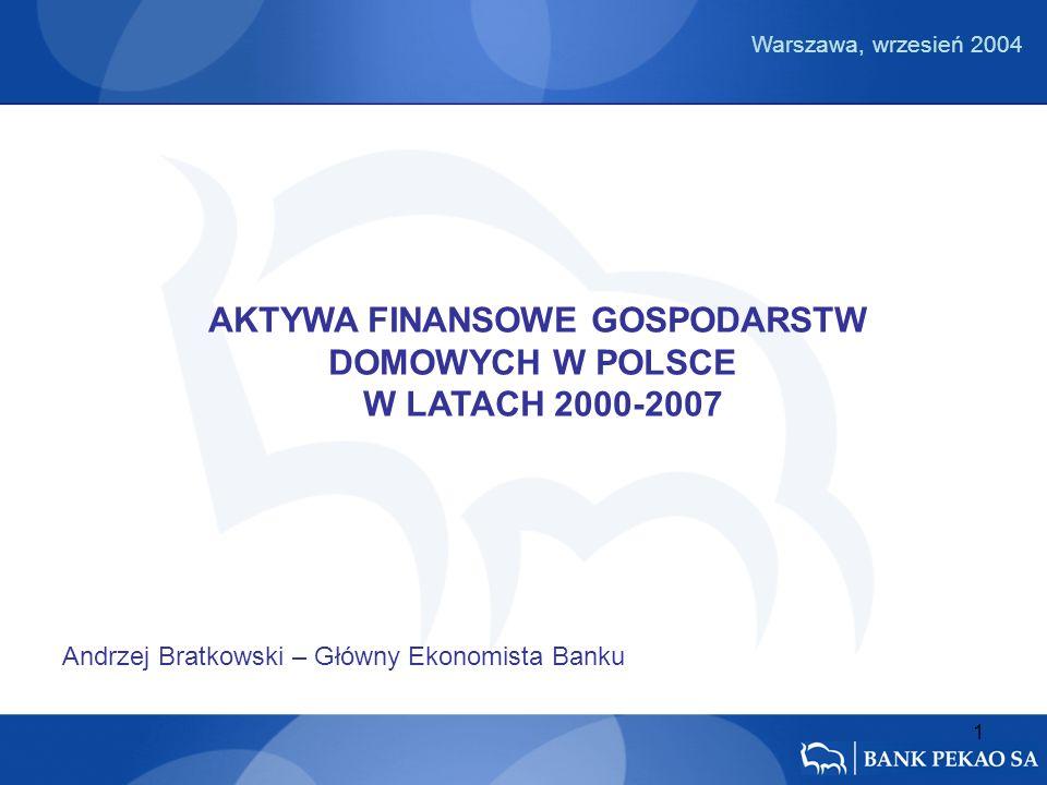 1 AKTYWA FINANSOWE GOSPODARSTW DOMOWYCH W POLSCE W LATACH 2000-2007 Andrzej Bratkowski – Główny Ekonomista Banku Warszawa, wrzesień 2004