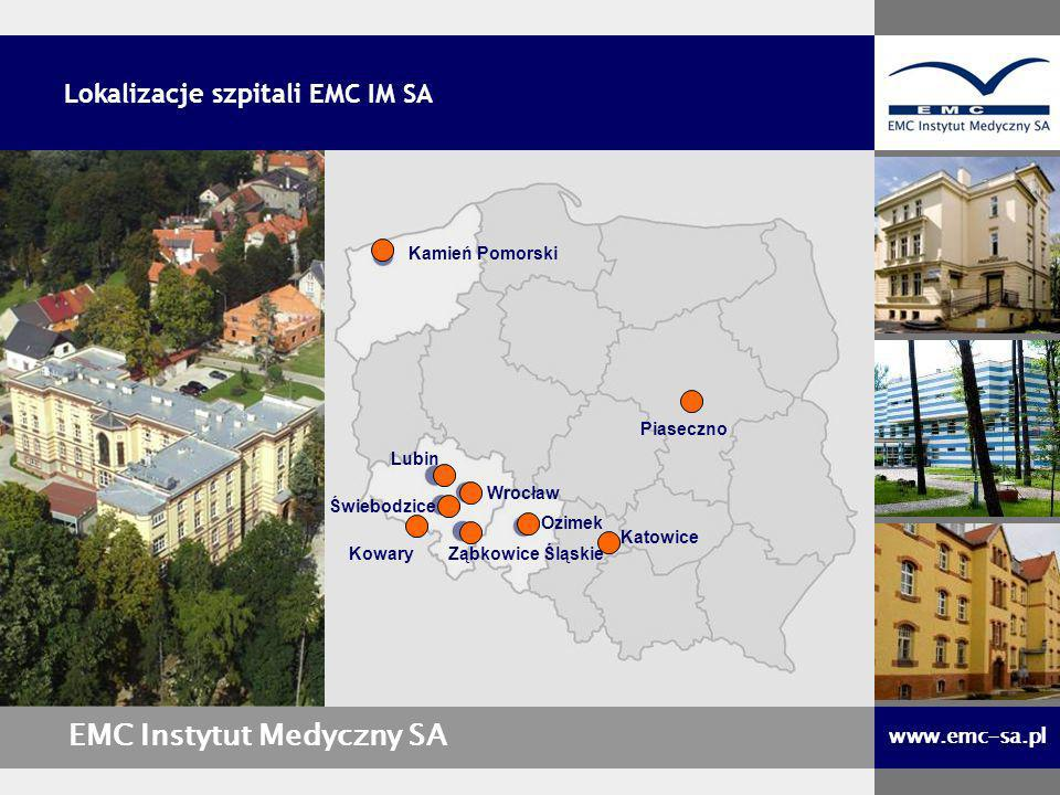 Wrocław Kamień Pomorski Ozimek Lubin Świebodzice Ząbkowice Śląskie EMC Instytut Medyczny SA www.emc-sa.pl Lokalizacje szpitali EMC IM SA Kowary Katowi