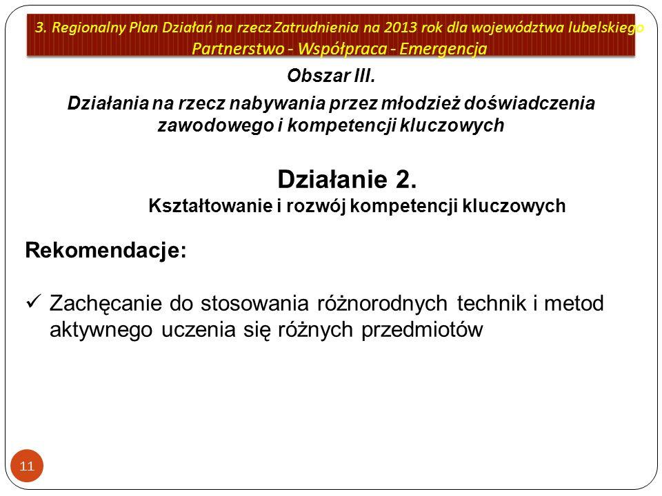 3. Regionalny Plan Działań na rzecz Zatrudnienia na 2013 rok dla województwa lubelskiego Partnerstwo - Współpraca - Emergencja 11 Obszar III. Działani