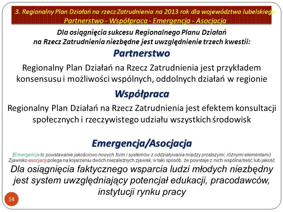 3. Regionalny Plan Działań na rzecz Zatrudnienia na 2013 rok dla województwa lubelskiego Partnerstwo - Współpraca - Emergencja - Asocjacja 14 Partners