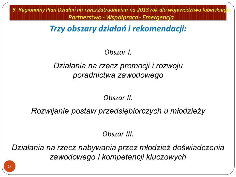 3. Regionalny Plan Działań na rzecz Zatrudnienia na 2013 rok dla województwa lubelskiego Partnerstwo - Współpraca - Emergencja 5 Trzy obszary działań