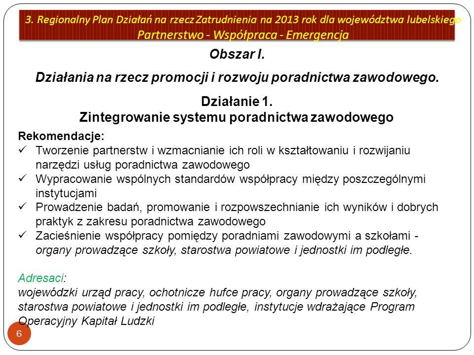 3. Regionalny Plan Działań na rzecz Zatrudnienia na 2013 rok dla województwa lubelskiego Partnerstwo - Współpraca - Emergencja 6 Obszar I. Działania n