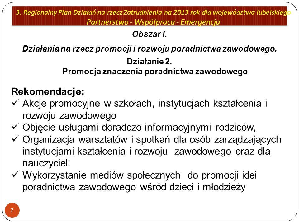 3. Regionalny Plan Działań na rzecz Zatrudnienia na 2013 rok dla województwa lubelskiego Partnerstwo - Współpraca - Emergencja 7 Obszar I. Działania n