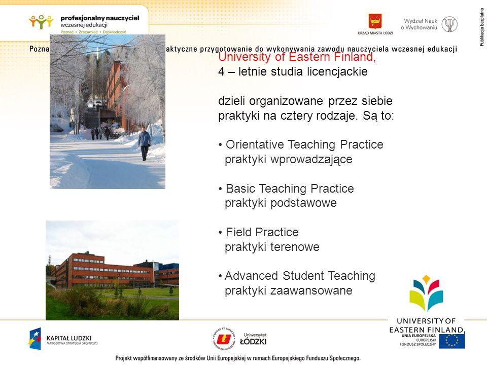 University of Eastern Finland, 4 – letnie studia licencjackie dzieli organizowane przez siebie praktyki na cztery rodzaje. Są to: Orientative Teaching