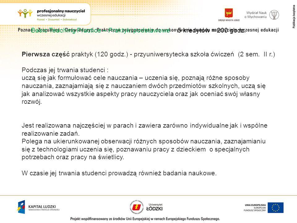 Basic Teaching Practice – Praktyki podstawowe 5 kredytów = 200 godz. Pierwsza część praktyk (120 godz.) - przyuniwersytecka szkoła ćwiczeń (2 sem. II