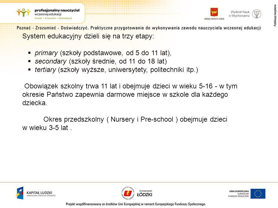System edukacyjny dzieli się na trzy etapy: primary (szkoły podstawowe, od 5 do 11 lat), secondary (szkoły średnie, od 11 do 18 lat) tertiary (szkoły