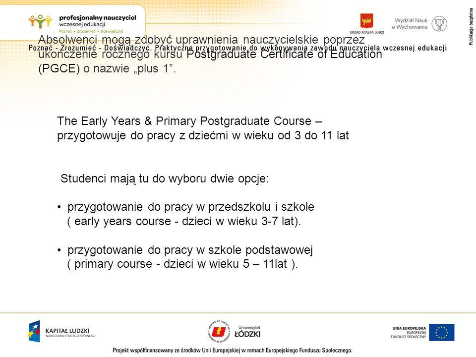 Absolwenci mogą zdobyć uprawnienia nauczycielskie poprzez ukończenie rocznego kursu Postgraduate Certificate of Education (PGCE) o nazwie plus 1. The