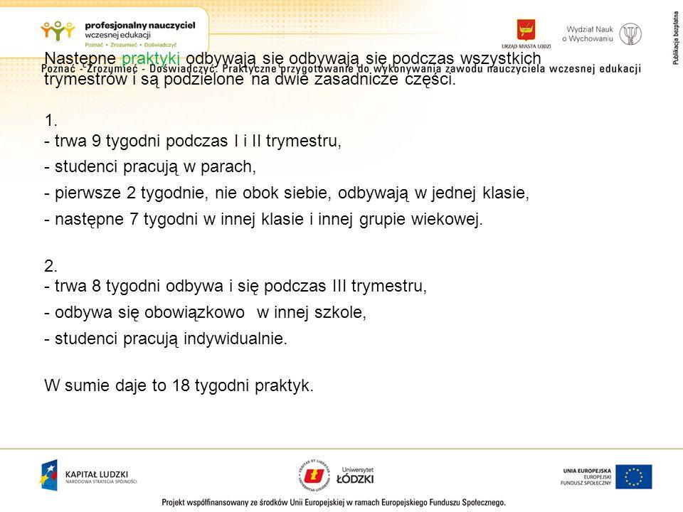Następne praktyki odbywają się odbywają się podczas wszystkich trymestrów i są podzielone na dwie zasadnicze części. 1. - trwa 9 tygodni podczas I i I
