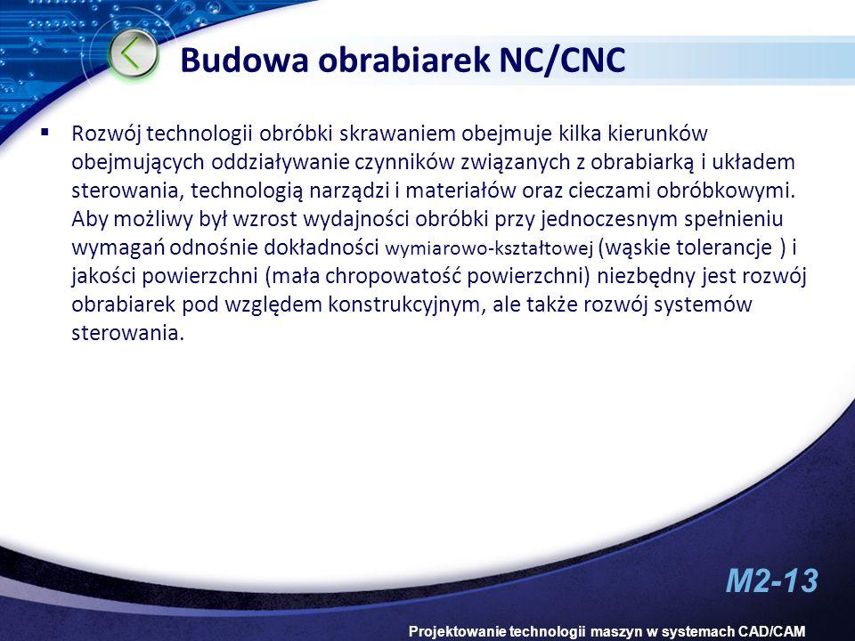 M2-13 Projektowanie technologii maszyn w systemach CAD/CAM Budowa obrabiarek NC/CNC Rozwój technologii obróbki skrawaniem obejmuje kilka kierunków obe