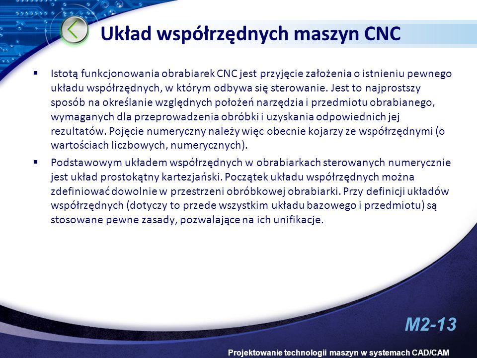 M2-13 Projektowanie technologii maszyn w systemach CAD/CAM Układ współrzędnych maszyn CNC Istotą funkcjonowania obrabiarek CNC jest przyjęcie założeni