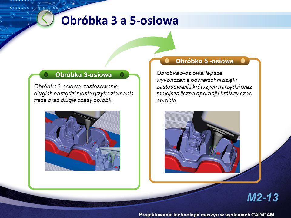 M2-13 Projektowanie technologii maszyn w systemach CAD/CAM Obróbka 3 a 5-osiowa Obróbka 3-osiowa Obróbka 5 -osiowa. Obróbka 5-osiowa: lepsze wykończen