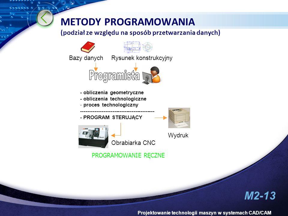 M2-13 Projektowanie technologii maszyn w systemach CAD/CAM METODY PROGRAMOWANIA (podział ze względu na sposób przetwarzania danych) - obliczenia geome