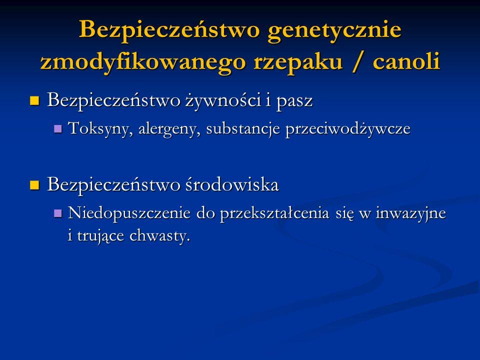 Bezpieczeństwo genetycznie zmodyfikowanego rzepaku / canoli Bezpieczeństwo żywności i pasz Bezpieczeństwo żywności i pasz Toksyny, alergeny, substancj