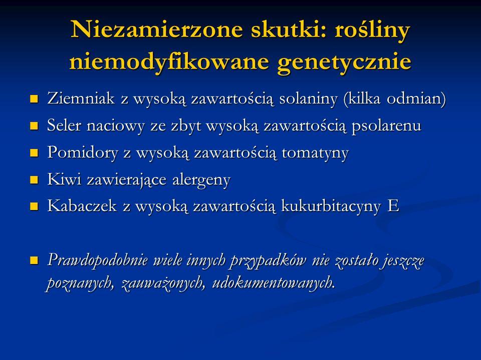Niezamierzone skutki: rośliny niemodyfikowane genetycznie Ziemniak z wysoką zawartością solaniny (kilka odmian) Ziemniak z wysoką zawartością solaniny