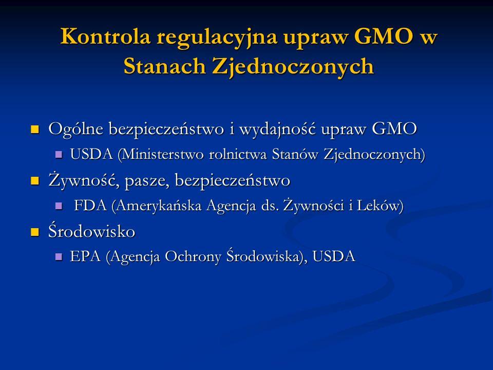 Kontrola regulacyjna upraw GMO w Stanach Zjednoczonych Ogólne bezpieczeństwo i wydajność upraw GMO Ogólne bezpieczeństwo i wydajność upraw GMO USDA (M