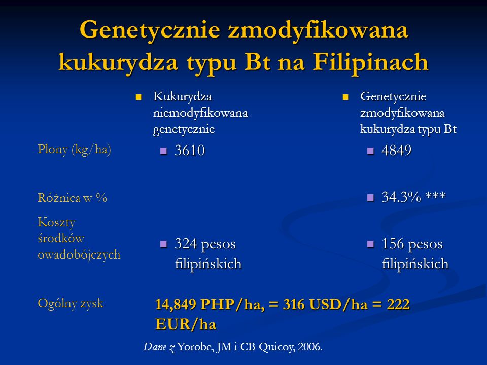 Genetycznie zmodyfikowana kukurydza typu Bt na Filipinach Kukurydza niemodyfikowana genetycznie Kukurydza niemodyfikowana genetycznie 3610 3610 324 pe