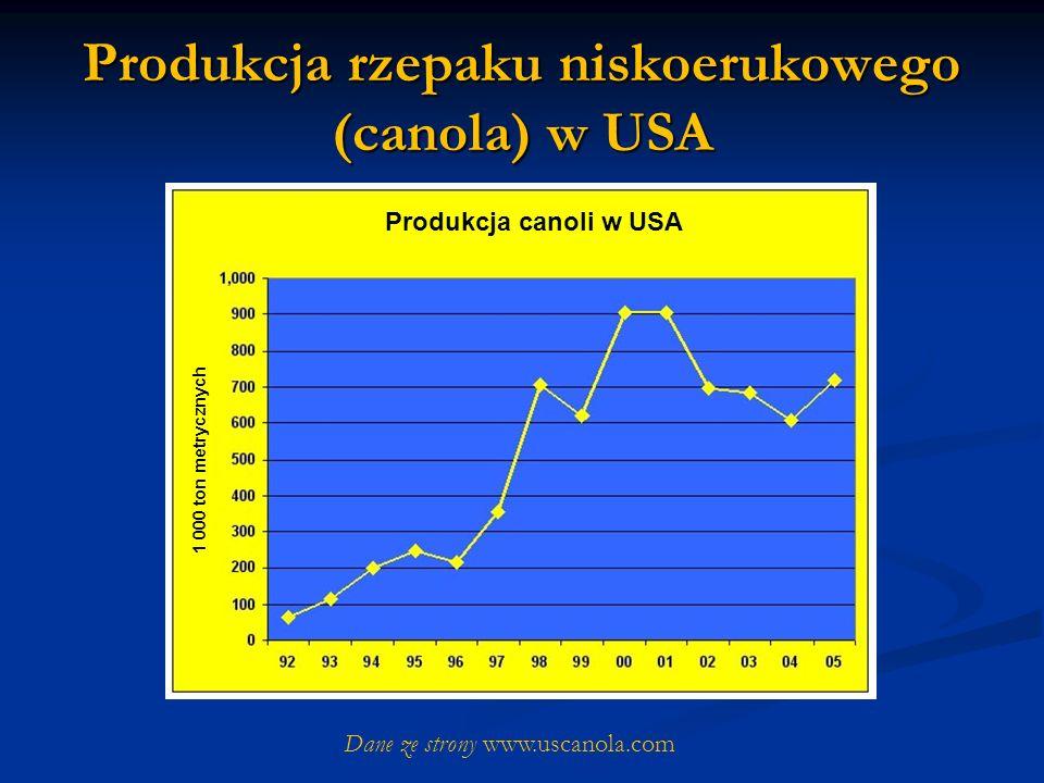 Produkcja rzepaku niskoerukowego (canola) w USA Dane ze strony www.uscanola.com Produkcja canoli w USA 1 000 ton metrycznych