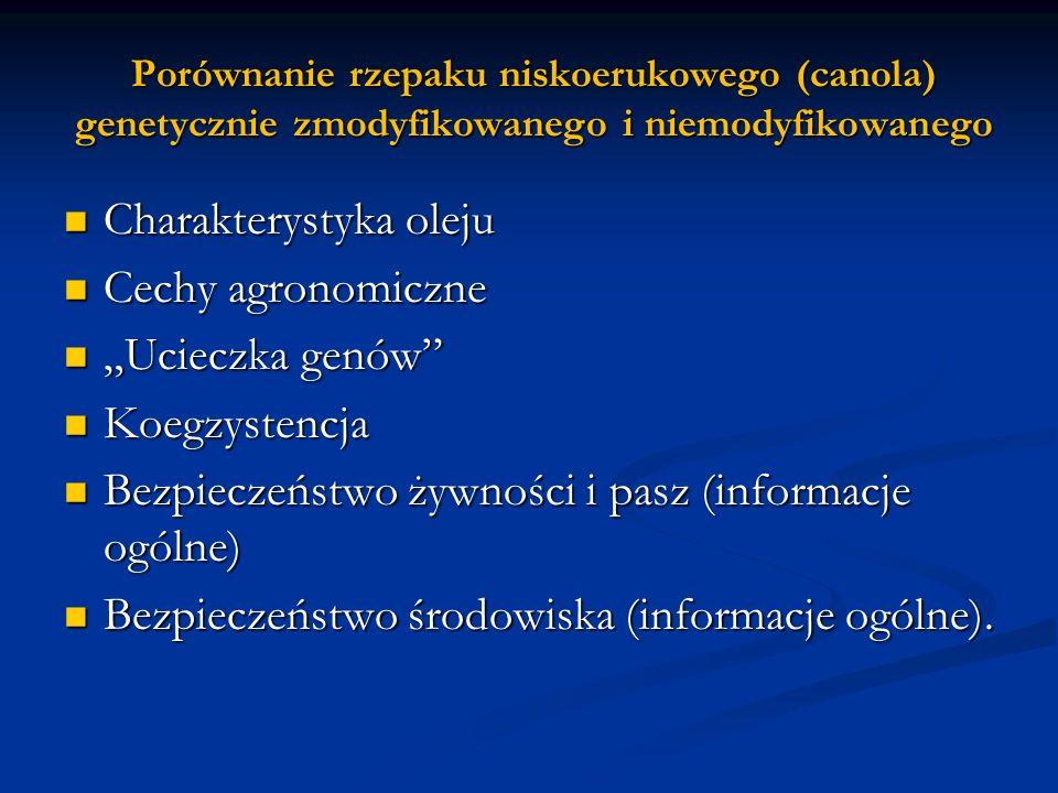 Porównanie rzepaku niskoerukowego (canola) genetycznie zmodyfikowanego i niemodyfikowanego Charakterystyka oleju Charakterystyka oleju Cechy agronomic
