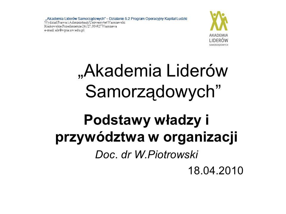 Literatura zalecana 1.Avery G.C.(2009). Przywództwo w organizacji.