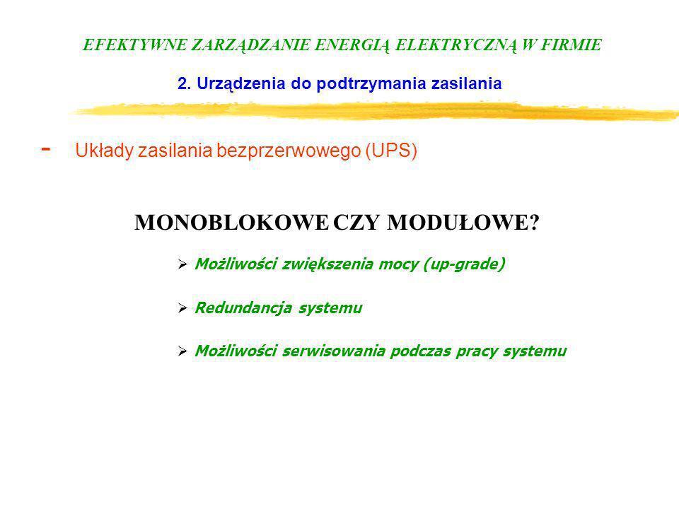 EFEKTYWNE ZARZĄDZANIE ENERGIĄ ELEKTRYCZNĄ W FIRMIE 2. Urządzenia do podtrzymania zasilania - Układy zasilania bezprzerwowego (UPS) MONOBLOKOWE CZY MOD