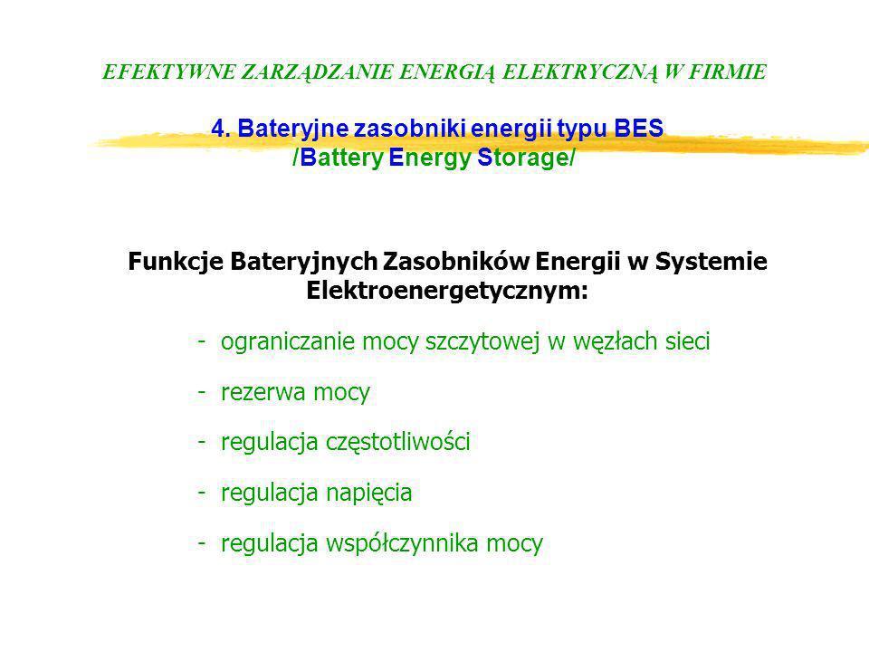 EFEKTYWNE ZARZĄDZANIE ENERGIĄ ELEKTRYCZNĄ W FIRMIE 4. Bateryjne zasobniki energii typu BES /Battery Energy Storage/ Funkcje Bateryjnych Zasobników Ene