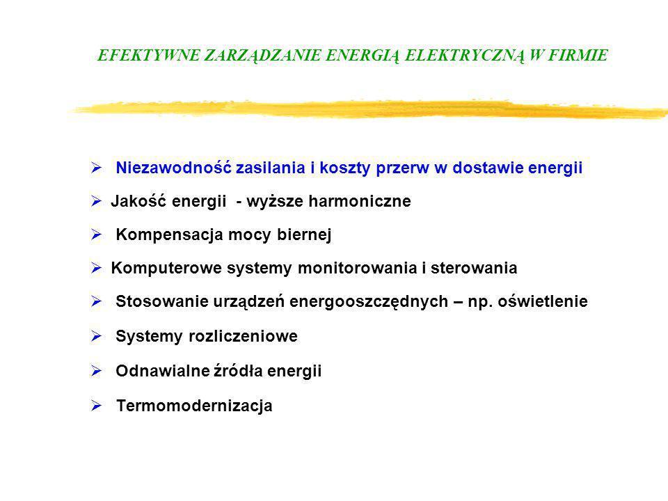 EFEKTYWNE ZARZĄDZANIE ENERGIĄ ELEKTRYCZNĄ W FIRMIE Niezawodność zasilania i koszty przerw w dostawie energii Jakość energii - wyższe harmoniczne Kompe