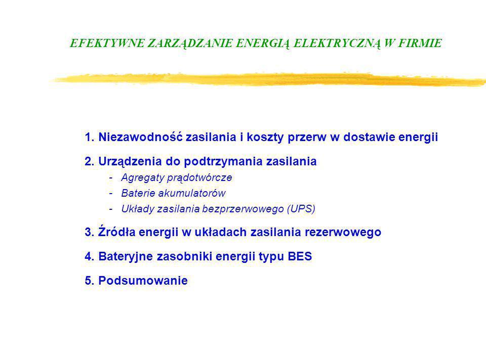 EFEKTYWNE ZARZĄDZANIE ENERGIĄ ELEKTRYCZNĄ W FIRMIE 1. Niezawodność zasilania i koszty przerw w dostawie energii 2. Urządzenia do podtrzymania zasilani