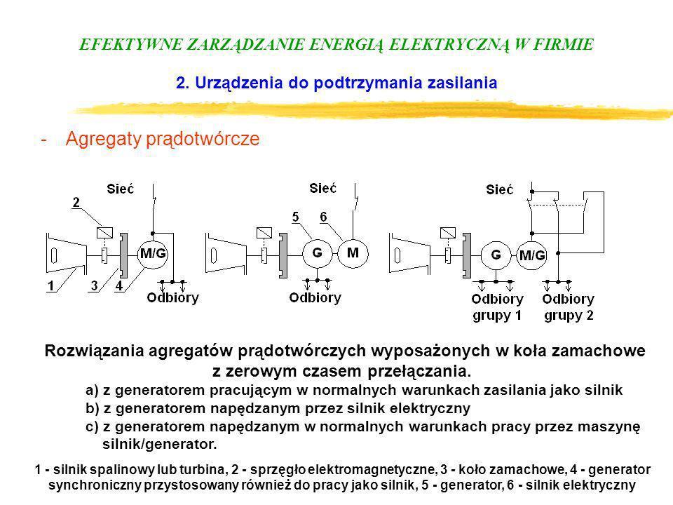 EFEKTYWNE ZARZĄDZANIE ENERGIĄ ELEKTRYCZNĄ W FIRMIE 2. Urządzenia do podtrzymania zasilania -Agregaty prądotwórcze Rozwiązania agregatów prądotwórczych