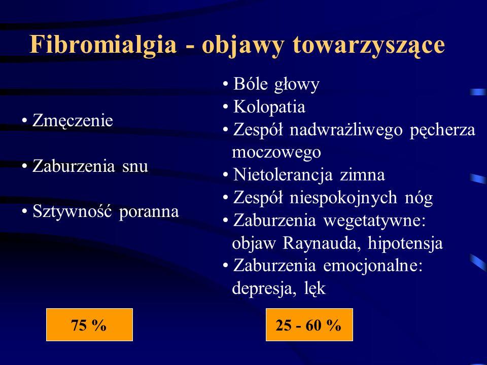 Zmęczenie Zaburzenia snu Sztywność poranna Fibromialgia - objawy towarzyszące Bóle głowy Kolopatia Zespół nadwrażliwego pęcherza moczowego Nietoleranc