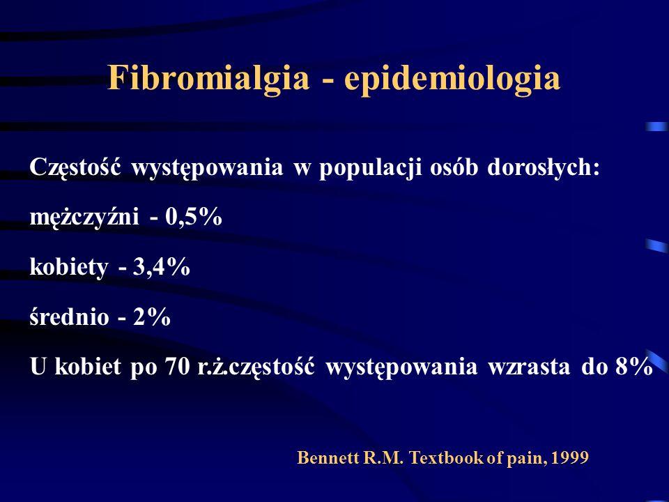 Fibromialgia - epidemiologia Częstość występowania w populacji osób dorosłych: mężczyźni - 0,5% kobiety - 3,4% średnio - 2% U kobiet po 70 r.ż.częstoś