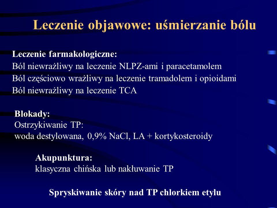 Leczenie objawowe: uśmierzanie bólu Leczenie farmakologiczne: Ból niewrażliwy na leczenie NLPZ-ami i paracetamolem Ból częściowo wrażliwy na leczenie