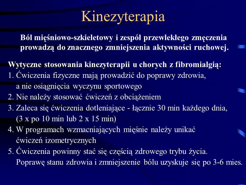 Kinezyterapia Ból mięśniowo-szkieletowy i zespół przewlekłego zmęczenia prowadzą do znacznego zmniejszenia aktywności ruchowej. Wytyczne stosowania ki