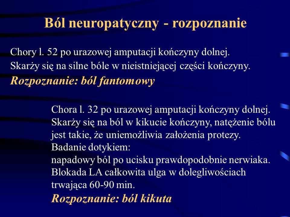 Ból neuropatyczny - rozpoznanie Chory l. 52 po urazowej amputacji kończyny dolnej. Skarży się na silne bóle w nieistniejącej części kończyny. Rozpozna