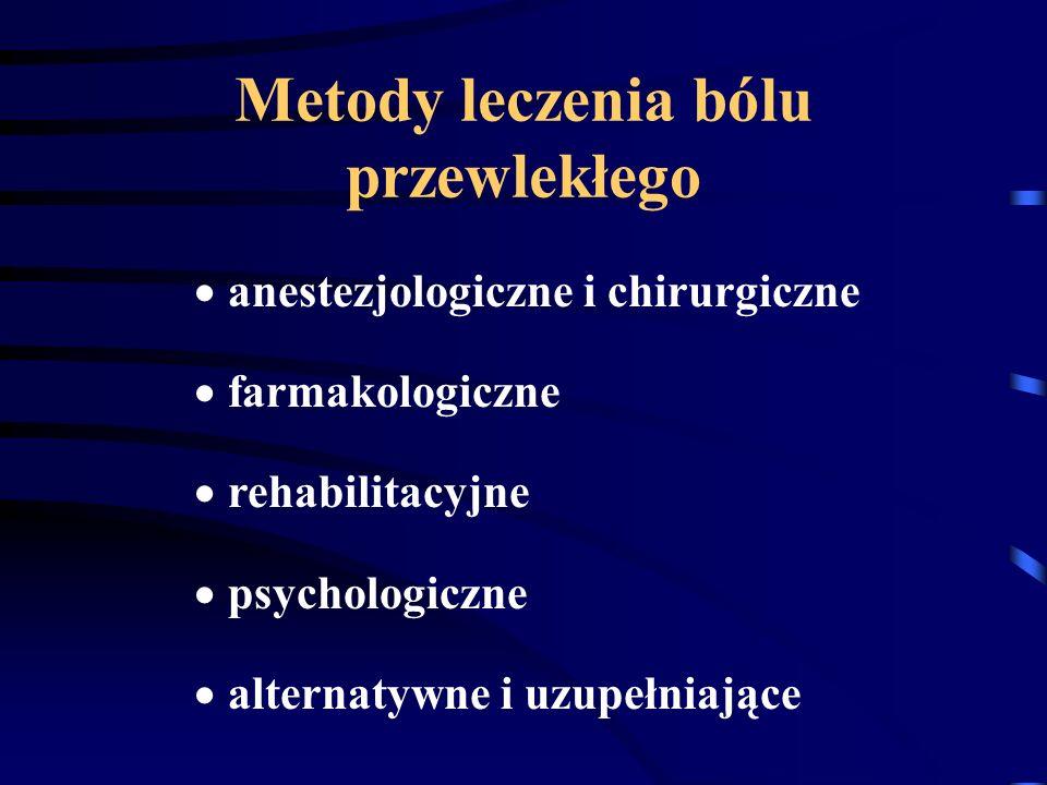 Metody leczenia bólu przewlekłego anestezjologiczne i chirurgiczne farmakologiczne rehabilitacyjne psychologiczne alternatywne i uzupełniające